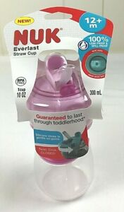 Nuk Everlast Pink Toddler Straw Cup 12+M BPA Free 10oz Leak Proof Spill Proof