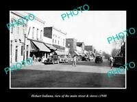 OLD HISTORIC PHOTO OF HOBART INDIANA, VIEW OF THE MAIN STREET & STORES c1940