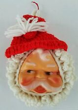 Vintage Christmas Santa Claus Face Mold Plastic and Crochet Wall Hanging Kitsch