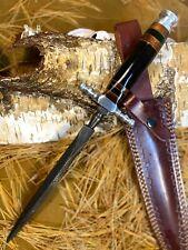 Louis Martin Custom Handmade Damascus Hunting Kris Blade Dagger Knife Bull Horn
