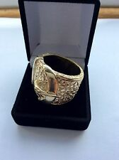 SOLID 9CT GOLD- BUCKLE RING -SIZE Z 1/2 HEAVY 48 GMS-HALLMARKED