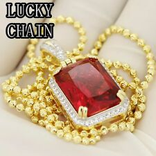 """24""""925 STERLING SILVER GOLD MOON CUT CHAIN NECKLACE RUBY PENDANT 14g E951"""