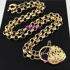 Real Women Solid 18k Yellow Gold GF Necklace Bolt Ring Chain Heart Clasp Padlock