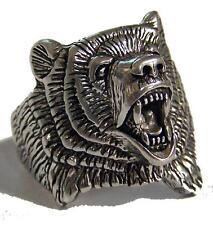 WILD ROARING BEAR NEW SILVER BIKER RING BR94R mens jewelry womens BEARS HEAD NEW