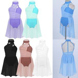 Girls Kids Ballet Dress Dance Gymnastics Lyrical Leotard Fancy Dancewear Outfits