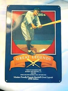 """Windsor Proudly Presents Great Legends Ty Cobb Metal Sign-10"""" x 14"""" -nice!"""