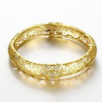 """Women's 7"""" Flower Pave 14K Gold Bangle Bracelet + Gift Box with Crystals ITALY"""