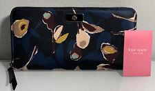 Kate Spade Large Continental Nylon Zip Around Wallet Dawn Paper Rose Black Multi