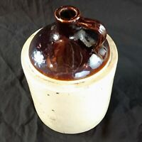Antique One 1 Gallon Stoneware Pottery Crock Jug Brown and White c.1900
