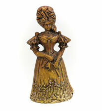 ancien doré bronze figuratifs Cloche - Jeune femme habillé en 18th siècle