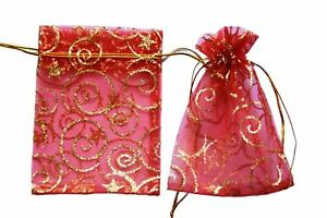 Glitter red christmas Organza Gift Pouch Wedding Favour Bag Jewellery 9 x 12