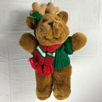 "Max The Reindeer Plush VTG 1986 Mervyns Sweater Scarf Holly Large 17"" Stuffed"