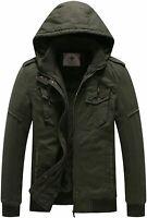 WenVen Men's Winter Fleece Jacket with Hood Thicken, Army Green, Size Medium V2t