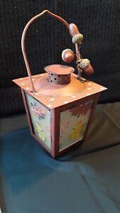 "Autumn Decor Lantern Tea Candle Holder 5""x4"" with Handle/Metal & Glass"