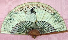 Ab 154 Fan. Bamboo Carved And Painted. Painted Paper.EspaÑA.Circa 1850.