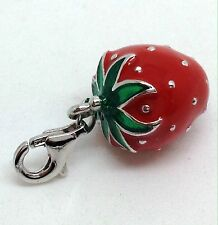 Strawberry enamel Clip On Charm Solid Sterling Silver New. Gift Pouch. UK.