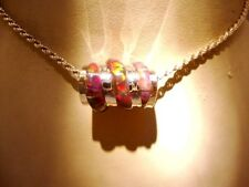 EUROPEAN BRACELET or PENDANT Swizzle RED Gold FIRE OPAL Bead Sterling silver