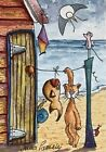 ACEO Contemporary Original Watercolour Painting Beach Hut~Cat~Fish~Mouse