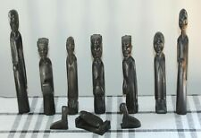 VINTAGE Carved Wood AFRICAN NATIVITY SET Black EBONY Wood