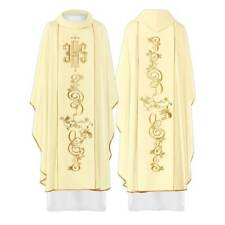 Gothic White Embroidered Catholic Chasuble Vestment & Stole With Gold IHS Symbol
