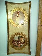 "Italian Gilded Wood Wall Plaque w T. Lawrence ""Pinky"" & Harbor Scene"
