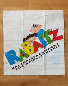 alte Plastiktüte Einkaufstüte Tragetasche XL RABATZ 57 x 61 cm Falte von Sammler