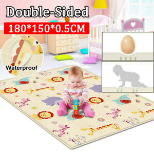 2Side Baby Kids Play Mat Soft Blanket Crawling Folding Cartoon Waterproof Carpet