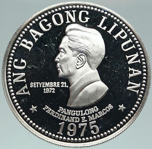 1975 PHILIPPINES New Society MARCOS Lipunan Old Proof Silver 50 Piso Coin i87489