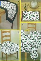 Easy to Sew Pattern Tablecloth Table Runner PlaceMats Chair Pads for Dummies