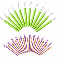 12 Sets Loom Knit Hook Crochet Knitting Loom Hooks with Plastic Needles Large