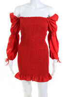 Reformation Womens Hilary Smocked Off Shoulder Mini Dress Red Size Medium