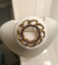 Of Round Purple Stones Brooch- Goldtone Vintage Large Link Circle W/Inner Ring