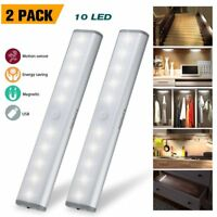 2 Pack 10/20-LED USB Rechargeable Wireless Motion Sensor Cabinet Stick-on Lights