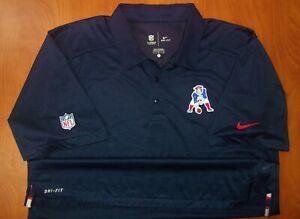 Nike NFL New England Patriots Football Throwback Logo Dri-Fit Polo Shirt L ~NEW~