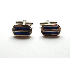 Blue Enamel Stripe Cufflinks 10.7g Modern 925 Sterling Silver Gents