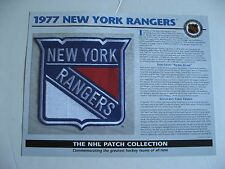 1977 New York Rangers Official NHL Cloth Embroidered Patch By Willabee & Ward
