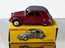 Dinky Toys F n° 24T Citroën 2CV modèle à 3 feux en boite