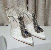 Brand new in BOX Manolo Blahnik Jamala white satin crystal pumps heels RRP:$2295