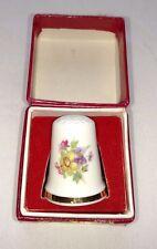 QUEENSWAY BONE CHINA THIMBLE Flowers The Empress British Columbia ENGLAND