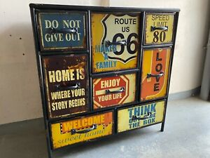 Industrial Style Kommode Route 66 aus Metall Topzustand | Shabby | 8 Fächer