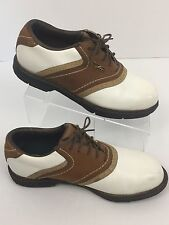 Reebok Golf Shoes DMX Liner White Brown Saddle Oxfords Spikeless Women's 6.5 W
