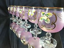 Crystal Set of 6 Brandy Cognac Snifters Glasses  European  Hand Decorated 8oz