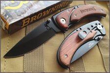 BR068 Couteau Browning Tactical Lame Acier 440 Manche Bois Cocobolo