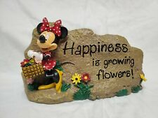 Disney Garden Stone Minnie Mouse Rock Sign Welcome Happiness is Growing Flowers