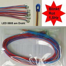 10 Stück SMD LED 0805 Rot Blinkt Blinkend Flash 1,5 Hz mit Microkabel B14/6