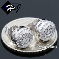MEN 925 STERLING SILVER 8MM LAB DIAMOND ICED OUT BLING ROUND STUD EARRING*E150