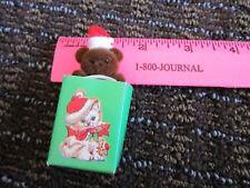 "Tiny Christmas Santa Teddy Bear in White Cat Bag 2 3/4 "" Cute Decoration Vtg"
