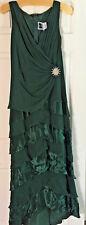 TADASHI Teal Silk & Satin Ruffled Long Dress Ruched V-Neck Cocktail Maxi-10 NEW