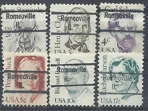 ILLINOIS PRECANCELS, GREAT AMERICANS, ROMEOVILLE, TYPE 843, 6 DIFFERENT