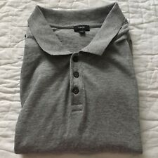 Vince Men's Heathered Gray Polo Collar Button Short Sleeve Shirt Size L